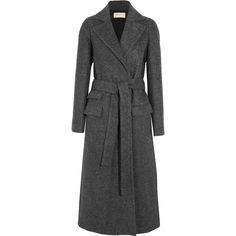 Antonio Berardi Alpaca and wool-blend belted coat ($1,295) ❤ liked on Polyvore featuring outerwear, coats, anthracite, tie belt, wool blend coat, antonio berardi, double breasted belted coat and alpaca coat