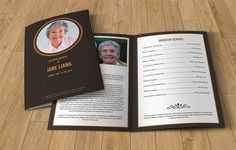Being a close relative or an organizer, you may have to create a funeral booklet to get a deceased person. Funeral brochure should depict the somberness Sample Funeral Program, Funeral Program Template Free, Pamphlet Template, Brochure Template, Flyer Template, Business Brochure, Business Card Logo, Brochure Design, Words