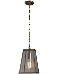 Milo Brass Lantern. Tapered brass lantern with glass panels and a restoration feel.