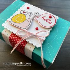 Snailed It Bundle by Stampin\' Up! Gift Box by Stampin\' Pretty, Mary Fish Mary Fish, Stampin Pretty, Animal Cards, Card Making Inspiration, Paper Pumpkin, Pretty Cards, Gift Packaging, Stampin Up Cards, Paper Crafts