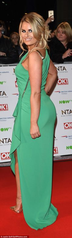 TOWIE star Danielle Armstrong walked down the red carpet in a jade-coloured dress to emphasise her curvy figure Georgie Porter, National Tv Awards, Fashion Fail, Red Carpet Fashion, Hemline, Bridal Gowns, Jade, Curvy