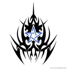Tatuaż przedstawiający Tribal z niebieską gwiazdą w serwisie z tysiącem wzorów tatuaży sprawdź: http://www.wzorytatuazy.net/tribal-z-niebieska-gwiazda