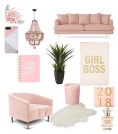 """Home pink"" by kitka1306 on Polyvore featuring interior, interiors, interior design, dom, home decor, interior decorating, Joybird, ban.do, Bella Freud i Refuge"