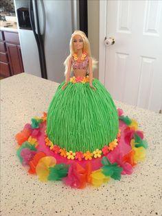 Luau hula skirt Barbie cake