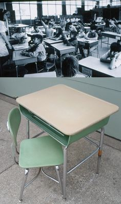 Vintage 1966 Mid Century Modern Child's School Desk and Chair, Green, Chrome, Made By Corex)