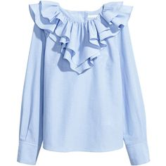 Blouse with a frilled collar 129 AED ❤ liked on Polyvore featuring tops, blouses, frilly blouse, cotton blouse, blue stripe blouse, blue blouse and ruffle collar blouse