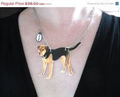 """Cyber Monday Sale Custom Pet Necklace by whatanovelidea on Etsy, $32.30/ $3.25 US ship. We all love our pets & now you can carry them with you wherever you go! Just send me a picture of your best  friend and I'll turn it into wearable art! Placed on a 17"""" silver plated chain; can discuss different color metal or chain length. Sports a fun tag charm with your pet's name as seen in the photo. Made w/ durable lightweight plastic covered w/ protective sealer. *Store can also make into an…"""