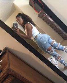 outfit and ripped jeans image - Clothing World Swag Outfits, Cute Casual Outfits, Dope Outfits, Summer Outfits, Girl Outfits, Fashion Outfits, Casual College Outfits, Black Girl Fashion, Teen Fashion