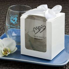 Fill Up Your Cup at the Candy Buffet with these cute stemless wine classes! Great Wedding Favors!