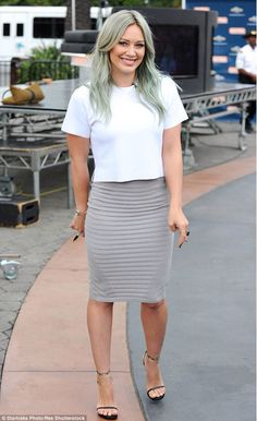 Hilary Duff rocks the blue-tinted dress. Get more Hilary style inspiration in the latest episodes of Younger on TV Land at http://www.tvland.com/shows/younger.