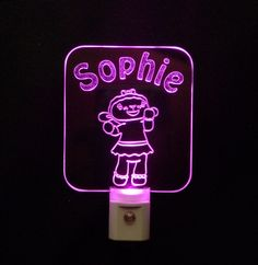 """Personalized #DocMcStuffins #Lambie Lamb Custom LED Night Light - Unique LED Products, #3D Engraved 3/8"""" Clear Acrylic, Multicolor light bases#personalizedgift #LED"""