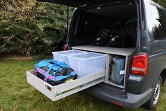 VW T5/T6 Transporter - TRAVEL-SLEEP-BOX Minivan Camping, Camper Van Life, Car Camper, T5 Transporter, Caravelle Vw, Eurovan Camper, Bus Vw, California Beach Camping, Vw Caddy Maxi