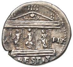 Cistophor - argento - Roma (82 d.C. Domiziano) - (C)APIT RESTIT fronte del tempio Capitolino con statue di Giove, Giunone e Minerva su podio - Münzkabinett Berlin