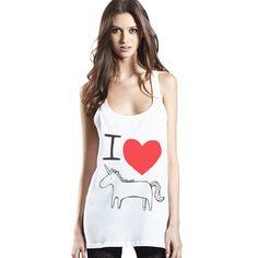 I Love Unicorn Ethical White Womens Tunic Racer Back Vest