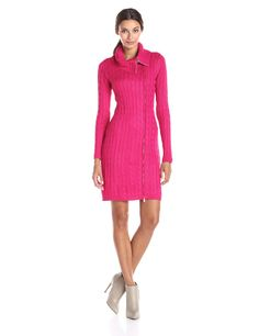 Calvin Klein Women's Long Sleeve Zip Cowl Neck Sweater Dress | Amazon.com