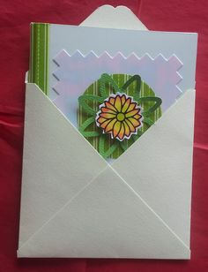Summery and bright Thank you card - handmade 100x100mm card in green 300gsm HunkyDory Adorable Scorable card - with hand painted flower peel off in the centre. I have also made the envelope too from pale green good quality heavy paper - a kit will be available soon.
