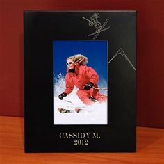 Engraved Black Skiing Picture Frame 4 x 6 or 8 x 10