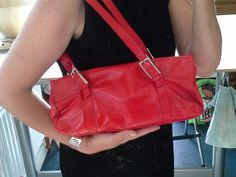 This item is unavailable Red Handbag, Red Lipsticks, Leather Handbags, Red Leather, My Etsy Shop, Shoulder Bag, Check, Vintage, Shopping