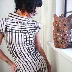 Focus on Sight - iheartfink Handmade Hand Printed Mod Striped Cowl Dress