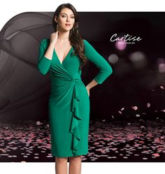 Slimming green dress with waterfall frill detail. #fallfashion #musthave #Cartise #women #apparel #coloryourlife www.cartise.com