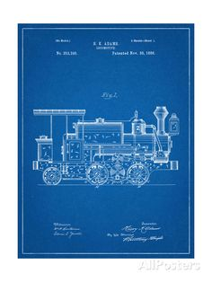 Train Locomotive Patent Art Print at AllPosters.com