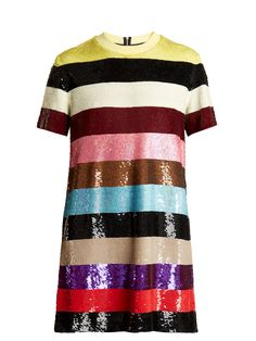 db01d1db7241 ASHISH Striped sequin-embellished mini dress Wrap Dress Short
