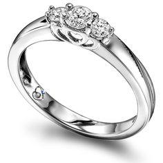 Ring hvg. m/dia 0,33ct W/SI + safir