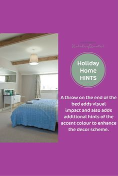Add a throw on the end of your bed for added interest, luxury and warmth. Use your chosen accent colour #holidayhomestyling
