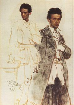 blastedheath:    drawingdetail:  Ilya Repin (Russian, 1844-1930)  N. Wentzell  1879.