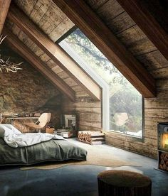 Elegant Attic Bedroom Design And Decoration Ideas - Think about using a decorating theme that you will like, but also one which can help to make your room appear larger. Farmhouse Master Bedroom, Bedroom Loft, Attic Bedrooms, Bedroom Rustic, Wood Bedroom, Master Bedrooms, Loft Room, Bedroom Green, Rustic Bedding