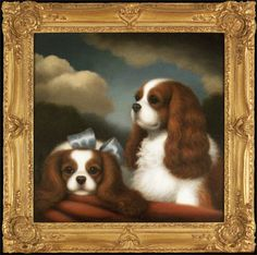 """""""Inseparable - Two Cavalier King Charles Spaniels""""  2010 - Artist: Christine Merrill (American, Contemporary)Medium: Oil on board Breed: Cavalier King Charles Spaniel, Size: 20 x 20 inches Framed: : 26 x 26 inches"""