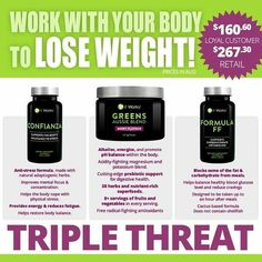 I LOVE what our Triple Threat combo is doing!  I have THREE more spots left for the 90 day challenge - message me if you want to reserve a spot at MY discounted price which saves you more than 40% off retail!  Detoxing your body eliminate excess toxins which gives you more energy, better moods, clearer skin, a slimmer mid-section + more!  Balance Cortisol so the body is more able to lose weight. ❎ Blocking CARBS and FAT from your largest meal of the day and curb