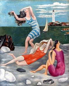 Pablo Picasso, Bathers, Summer 1918 (note Puvis de Chavannes and Rousseau refs—Young GIrls by the Seashore 1880; Soccer Players 1908 [Ken Silver argument])