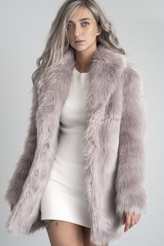 Hanna Faux Fur Coat. Lilac Color.