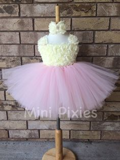 Pink and Ivory couture dress with flower by MiniPixiescanada