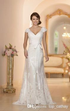 2014 Backless Wedding Dresses V Neck Cap Sleeve Column Sheath Floor Length Sash Tulle Sweep Train Bridal Gowns Vestido De Novia LX 1263