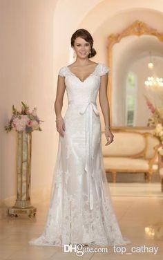 2014 Backless Wedding Dresses V-Neck Cap Sleeve Column Sheath Floor-Length Sash Tulle Sweep Train Bridal Gowns Vestido De Novia LX-1263, $144.44 | DHgate.com