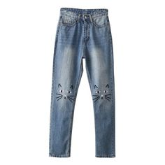 Blue Cat Embroidery Skinny Jeans ($28) ❤ liked on Polyvore featuring jeans, blue jeans, embroidered jeans, cut skinny jeans, blue skinny jeans and skinny leg jeans