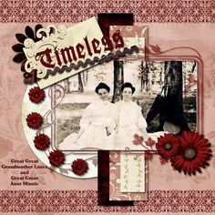 Timeless ~ Feminine heritage page with stunning Art Nouveau borders, framing and title block.