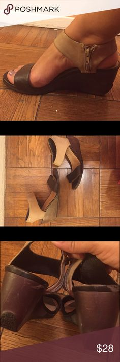 """Camper wedge sandals Campers super comfy wedge sandals; brown leather&abridge suede 2.5"""" heel; rubber sole. Scratches on heels; see photos; fits 9.5 Camper Shoes Sandals"""