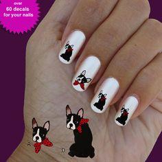 Boston terrier, nail art, nail decal, set of 60 waterslide nail decal  #dog0012