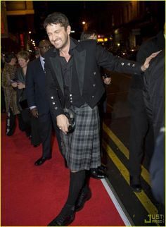 Gerard Butler...one of two men I think look a good in a kilt!  The other one being Sean Connery...   (sigh)...   :o)