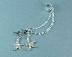 Starfish Ear Cuff set, starfish earrings with chain, earcuff, nautical star fish beach jewelry. $16.00, via Etsy.