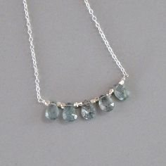 Tiny Moss Aquamarine Briolette Necklace Sterling by DJStrang