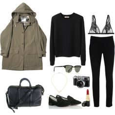 Black cigarette pants and sweater; tan jacket, red lips, and black smoking shoes. Oh cute, I can recreate this easily.