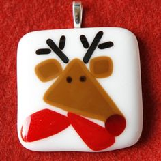 Fused Glass Pendant  Reindeer with Red Scarf by SassyGlassStudio, $25.00