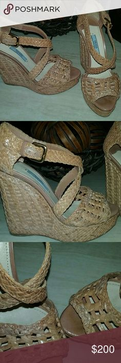 AUTHENTIC! PRADA Nude Leather Wedge Sandals 6.5 Great condition! The lighter leather marks are made to look that way, no damage...only wear is to the bottoms, naturally. These run small, so fits like a 6. Surprisingly comfortable and so easy to walk in. True color is more like the last pic. These are one of a kind, authentic PRADA sandals! Prada Shoes Sandals