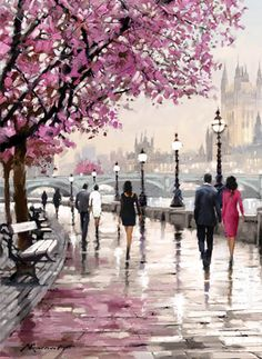Buy Frameless Cherry Blossoms Road Diy Oil Painting By Numbers Kits Wall Art Picture Home Decor Acrylic Paint On Canvas For Artwork . Acrylic Painting Canvas, Diy Painting, Canvas Artwork, Wow Art, Cross Paintings, Wall Art Pictures, Scenery Pictures, Beautiful Paintings, Watercolor Art