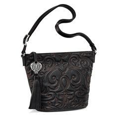 Orianna Cross Body Bucket in black leather.