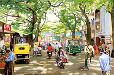 India Painting - India Street Scene by Dominique Amendola India Painting, Oil Painting On Canvas, Figure Painting, Painting Art, India Street, Art Village, Village Drawing, Indian Village, Composition Art